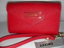 NEW DKNY LADIES PHONE WRSLT SAFFIANO LEATHER RED COLOR