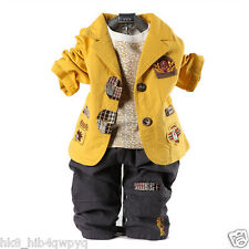 3PC Kids baby suit coat+Long Sleeve Shirt+long Pants set suit boys clothes