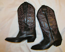 vtg HUNT CLUB black with multicolored embroidery lizard skin cowboy boots 8.5 M