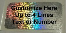 1000 SS Customized Security Seal Hologram Tamper Proof Security Label Stickers
