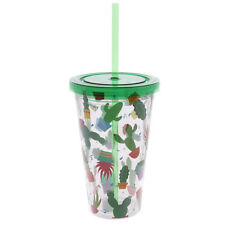 Funky Cactus Double Walled Cup With Lid And Straw 16 x 10 x 10cm