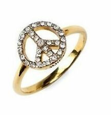 gold tone peace sign ring with clear crystal UK size M