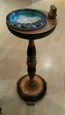 Vintage Art Deco Solid Wood Smoking Stand  On 3 Claw Feet  With Ceramic Ashtray