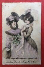 CPA. 1907. Jeunes Filles. Style Viennois. Gui. Manchon. Nouvelle Année.