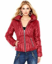 $200 New Guess Red Quilted Down Puffer Jacket Medium