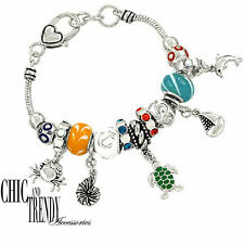 OCEAN SEA SHELL TURTLE DESIGNER INSPIRED CHARM BANGLE BRACELET GREAT GIFT