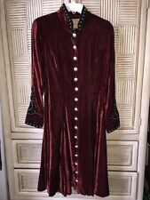 Double D Ranch Dress Duster Coat Burgundy Velvet Metal Buttons Sz Medium