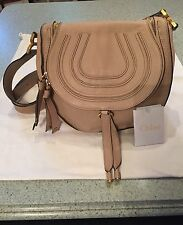 Chloe Marcie Beige Medium Flap Leather Shoulder Bag Cross Body