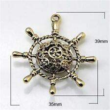 LARGE ANTIQUE BRONZE PENDANT - SHIPS WHEEL DESIGN - DOUBLE SIDED..........P343 *