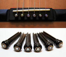 SET OF 6 (+ 1 EXTRA) HANDMADE BUFFALO HORN ACOUSTIC GUITAR BRIDGE PINS