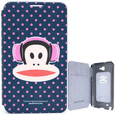 Paul Frank Samsung Galaxy Note 2 Phone Case Flip Cover Pink Dots HeadPhone