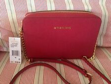 ��NWT MICHAEL KORS JET SET TRAVEL EW LARGE LEATHER CROSSBODY BAG CHERRY RED $168