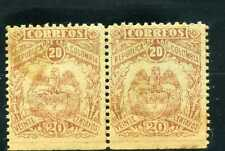 ARMS   ESCUDO,- Brown,- COLOMBIA pair hor.  1897  MNH