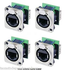 4-Pack Neutrik NE8FDP Ethercon RJ45 Feed Through D-Series Panel Mount Jacks