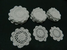 "36 (3 Doz) Small White Round HAND CROCHET COTTON DOILIES  Sz 3-4"" Pre washed"