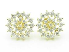 YELLOW GOLD STERLING SILVER DIAMOND SET WHITE SAPPHIRE ROUND HALO STUD EARRINGS