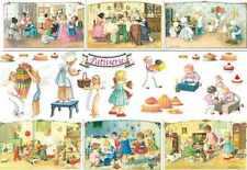 Carta DECOUPAGE Look Vintage Bambini Pasticceria Torte Cottura
