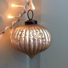 Matt Gold Mercury Glass Ribbed Onion Bauble, Christmas Tree Decoration Vintage