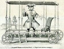 Le Grand Thomas: Pittoresco Dentista sul Pont-Neuf, a Parigi. Stampa Antica.1841
