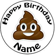 """Personalizado De Cumpleaños Caca emoji Redondo 8"""" fácil Precortada Glaseado Cake Topper"""