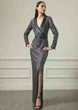 ST. JOHN Grey Sequin Belted Tuxedo Dress Gown 2 4