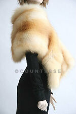 NEW SABLE COLOR GOLD FOX FUR SKARF WRAP JACKET KU334