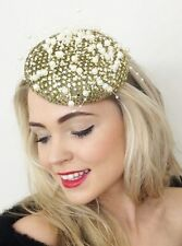 GOLD SEQUIN METALLIC PEARL PILLBOX PERCHER HAT FASCINATOR WEDDING RACES ASCOT