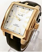 Mens Luxury Wrist Watch Gold White Dial New Leather Strap Roman Omax Classic