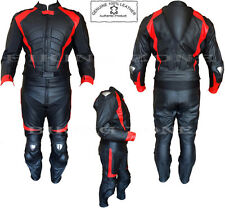 RED HAWK MENS CE APPROVED MOTORBIKE / MOTORCYCLE BLACK LEATHER SUIT / JACKET