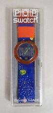 VINTAGE 1990 POP SWATCH QUARTZ WATCH SPUTNIK ROCKET SPACE BLUE WITH CASE NIB