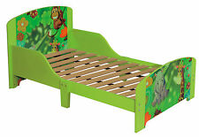 Toddlers Green Jungle Single Bed Frame with Slat Base Kids Bedroom Furniture