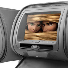 "2 x Grey 7"" Leather-Style Car DVD Headrests with HD-Screen/USB/Games/Headphones"