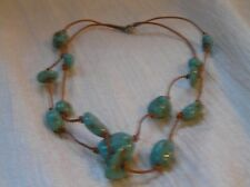 Estate Doublestrand Thin Tan Leather Cord w Faux Turquoise Nugget Bead Necklace