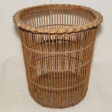 Ancienne Corbeille a Papier De Bureau Vintage Osier Vannerie Wicker Paper Basket
