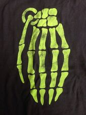 Grenade Green Skeleton Hand Graphic Skater T-Shirt Cotton Black Mens L