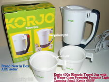 KORJO 400ml Electric Travel Jug+2 Water Cups Dual Voltage Portable Kettle 650W