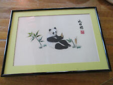 FRAMED & SIGNED, VINTAGE, CHINESE SILK SUZHOU EMBROIDERY, PANDA EATING BAMBOO