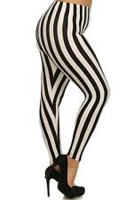 Plus Size Beetlejuice Black & White Stripe Leggings Pants Goth Punk Circus Freak