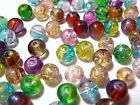 200pc 4mm Quality Crackle Glass Czech Round Beads - Assorted Mix Colours BULK