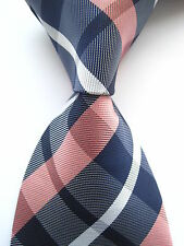 New Classic Checks Blue Pink White JACQUARD WOVEN 100% Silk Men's Tie Necktie