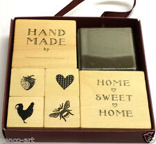 Docrafts Papermania rubber stamp set of 7 Country Life chicken bee hand made by
