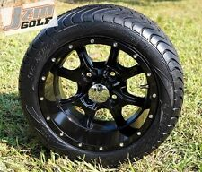 "GOLF CART 12"" NIGHT STALKER WHEELS & 215/40-12 DOT LOW PROFILE TIRES-SET OF 4"