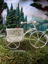 Miniature Tricycle Planter - Ivory Metal Fairy Garden 30000621