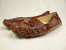 Taryn Rose Italy Leopard Patent Leather Penny Loafer Flats Shoes 38.5  8.5