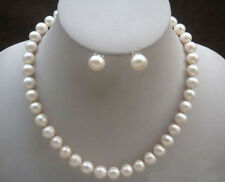 """8-9mm Natural White Akoya Cultured Pearl Necklace Earrings set 18"""""""