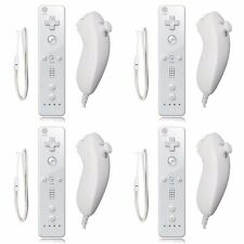 4 x Remote And Nunchuck Controller Set  + Case Skin For Nintendo Wii Video Game