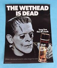 "VTG 1970's GILLETTE RAZORS ""DRY LOOK"" HAIRSPRAY FRANKENSTEIN ADVERTISING POSTER"