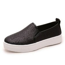 WOMEN'S SLIP-ON FLATS PLIMSOLLS SNEAKERS LADIES TRAINERS SKATER SHOES PUMPS SIZE