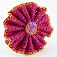 Harris Tweed Bertie Girl Flower Brooch Pink & Orange