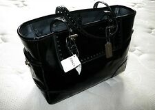 NWT COACH CRINKLED CALF PATENT BLK LEATHER GALLERY LUNCH TOTE BAG PURSE HANDBAG